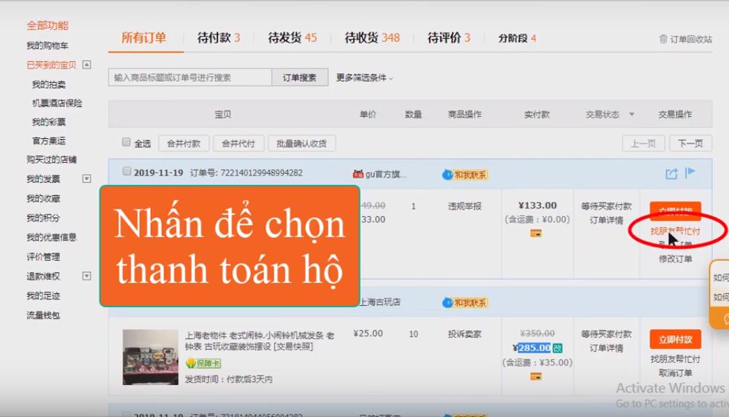 HVT thanh toán hộ đơn Taobao qua Alipay