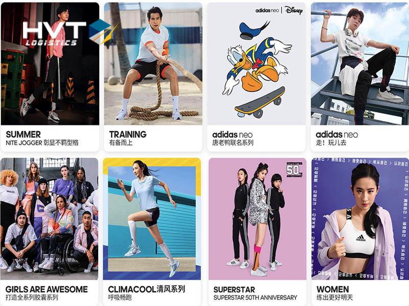 Các mặt hàng Adidas đang được bày bán tại shop ở Trung Quốc