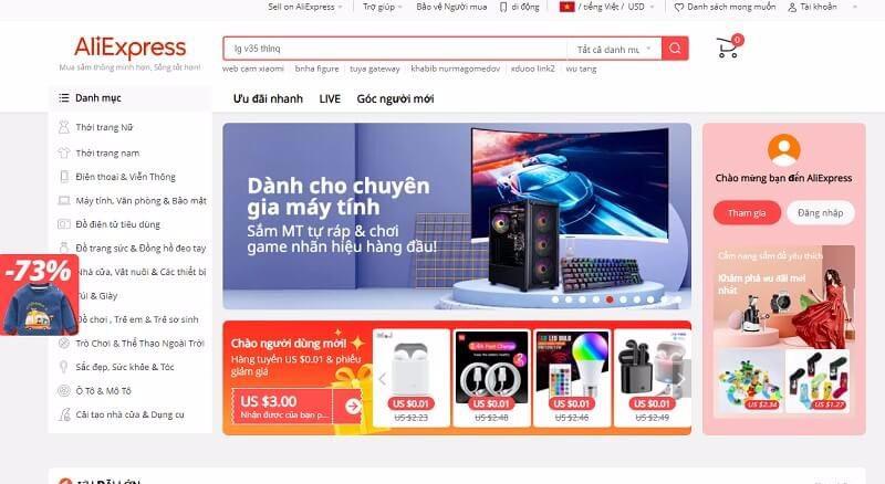 Aliexpress trang bán lẻ hàng Quảng Châu quốc tế