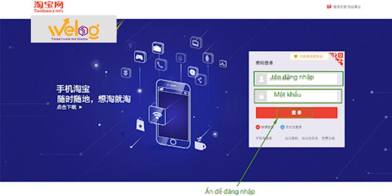 Màn hình phần đăng nhập của taobao