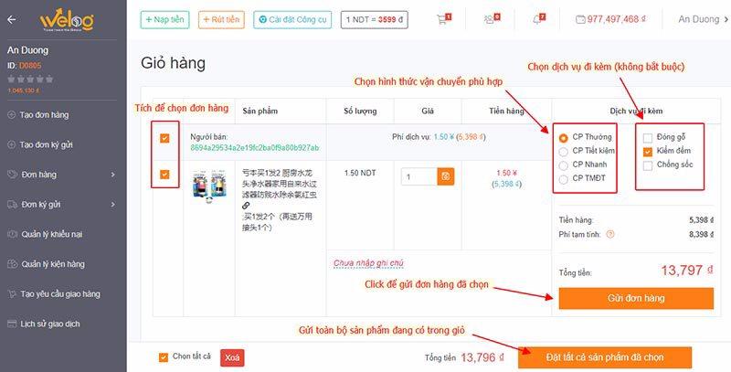 Cách kiểm tra và tạo đơn đặt hàng taobao
