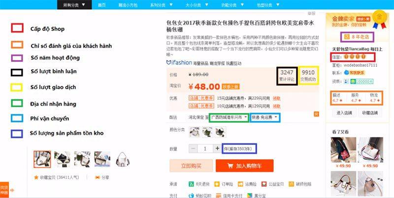 Nên order taobao ở những shop có số lượng đơn hàng thành công lớn