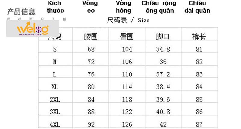 Dịch bảng size quần áo Trung Quốc