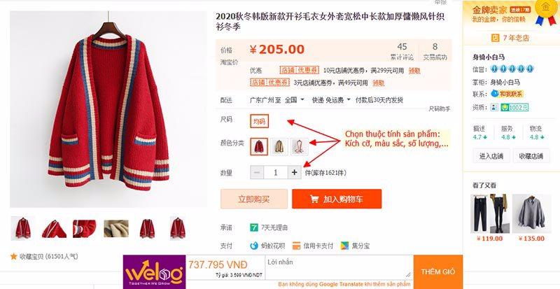 Chọn các thông tin sản phẩm khi mua đồ taobao