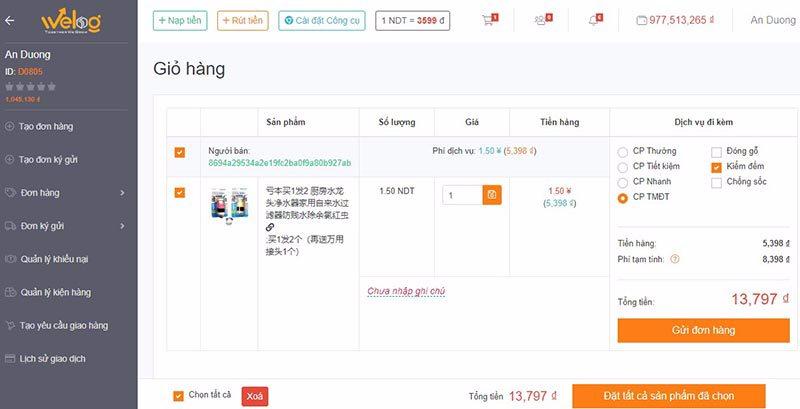 Gửi đơn hàng lên hệ thống sau khi lựa chọn được sản phẩm đặt hàng taobao