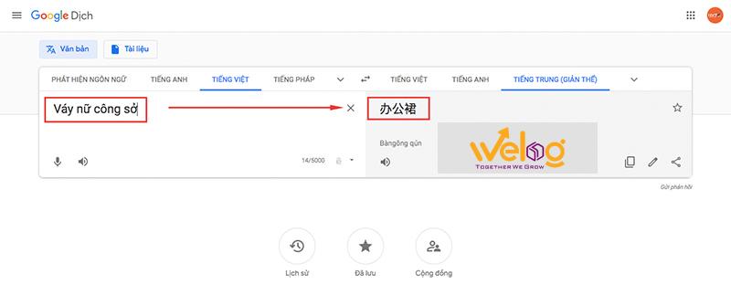 Dùng google dịch để dịch các từ khoá để tìm sản phẩm