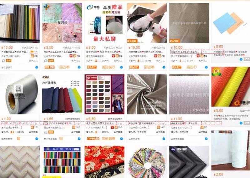 Order vải tại các trang thương mại điện tử