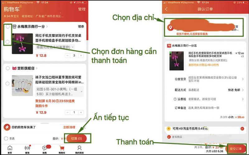 Các bước thanh toán đơn hàng Taobao trên app